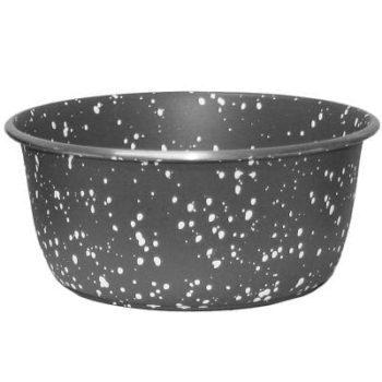 rustfri stålskål grå granitt