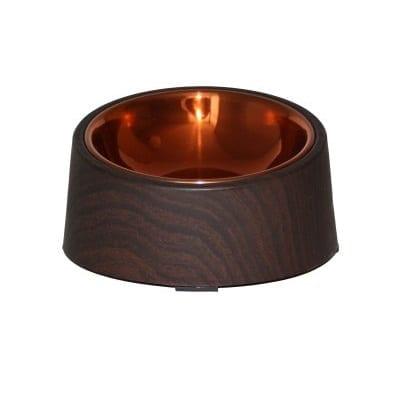 Rusfri stålskål mørkt tre og kobber