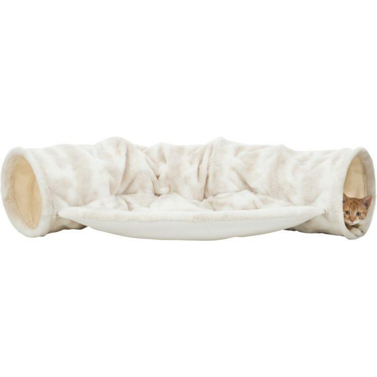 Kattetunnel Nelli Plysj med seng 116x55x27cm Hvit/Taupe