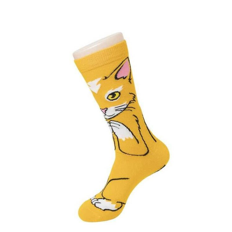 Sokk med søt katt orange