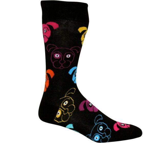 Sorte sokker med hundeansikt
